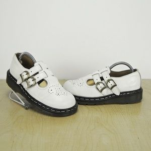 DR MARTENS WOMENS WHITE Twin 2 Strap DOUBLE BUCKLE